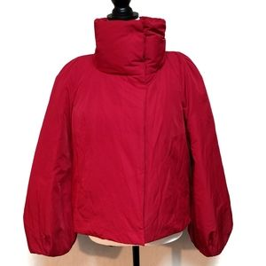 Ann Taylor Red Cropped Bell Sleeve Puffer Coat